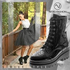 """Today's street style!! Δώσε ένταση στο στύλ σου με τα υπέροχα """"combat"""" boots! Βρές τα σε εκπληκτική τιμή!! All Black Sneakers, Combat Boots, Fall Winter, Shoes, Fashion, Moda, Zapatos, Shoes Outlet, La Mode"""