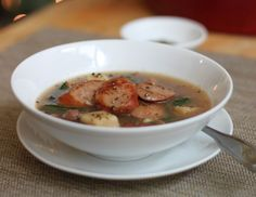 Get Alton Brown's Christmas Soup recipe. This soup is a fall and winter wonder that takes full advantage of my favorite sausage in the world: kielbasa.