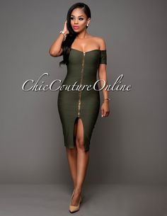 Chic Couture Online - Onnie Olive Green Off-The-Shoulder Zipper Front Dress.(http://www.chiccoutureonline.com/onnie-olive-green-off-the-shoulder-zipper-front-dress/)