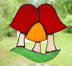 Stained Glass Triple Mushroom Suncatcher by GlassofDistinction, $14.95