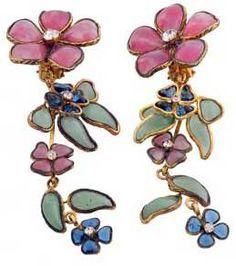 Gripoix - Chanel - Boucles d'Oreilles 'Cascade de Fleurs'