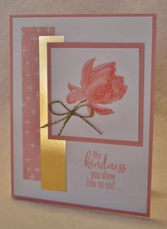 Here is another card that I made for a swap. This is a wonderful new stamp set called Lotus Blossom. It is a photopolymer stamp which m...