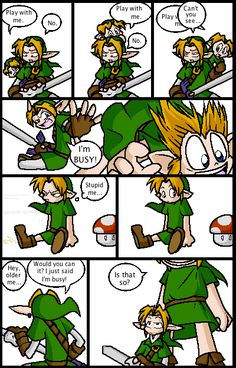 Pfffft Link's a brat  (ALSO BUT MUSHROOMS ARE TEMPORARY (somewhat) SO LINK JUST HAS TO HIT OR AVOID LITTLE LINK and then he can go back to shoving him around. Also little link get some pants.)