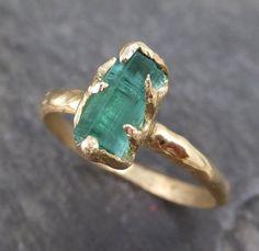 Raw Sea Green Tourmaline Gold Ring Rough Uncut Gemstone tourmaline recycled 18k stacking cocktail statement