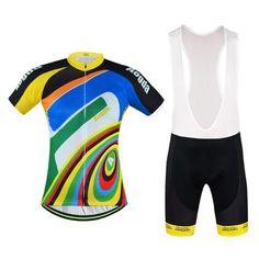 Men's Rainbow Short Sleeve Cycling Jersey Set #Cycling #CyclingGear #CyclingJersey #CyclingJerseySet