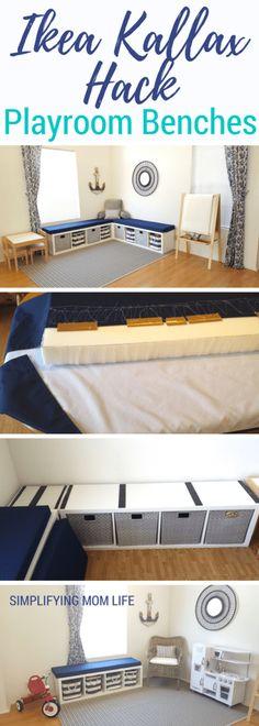 Ikea Kallax Hack - Playroom Storage Benches - DIY window bench, no sew cushions, no drilling, without plywood, Nautical Playroom, Coastal Decor