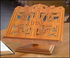 IHS Wooden Carved Bible Stand