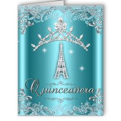Quinceanera 15 Teal Blue Silver Tiara Eiffel Tower Card invitations and cards by Zizzago.com