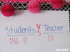 Students vs. Teacher classroom management idea where kids compete with you for points - effective and fun! (20 Classroom Management Strategies You Can Start Right Away)
