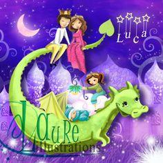faire-part de naissance ambiance mille et une nuit avec un dragon Ptit blog d'une illustratrice jeunesse Laure Phelipon