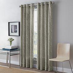 Herringbone 63-Inch Grommet Top Window Curtain Panel in Charcoal