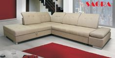 "New Fabric Large Corner Sofa bed ""Bordeaux"" Modern Design 2 3 seater Left or Right   BEIGE WHITE BLACK GREY BROWN (beige)"