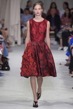 Exquisite Retro Red Sleeveless Party Dress by Oscar de la Renta RTW Spring 2016