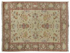 ASYA USHAK / TURKEY Item Number:24759 Width: 6 ft. 3 in. Length: 9 ft. 0 in. Field: ALL OVER PATTERN Field Color: BEIGE Border Color: BROWN... (828)-687-1968 www.togarrugs.com