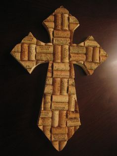 Mosaic Wine Cork Cross by tonyaratliff