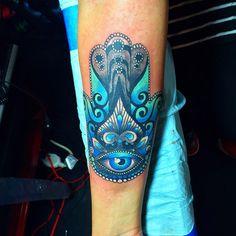 Pretty Blue Hamsa Forearm Piece   Best tattoo ideas & designs