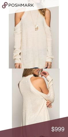 |Just•In| Vanilla Cold Should Sweater The most chic sweater around! A somewhat boho fit with cold shoulder detail and knitted like fabric. Runs true to size. Firm unless bundled. Also available in sky blue!   •15% bundle discount  • No trades • Available sizes: Small(one left), Medium(one left) and Large(one left)  Let me know if you would like me to set up a listing with your size or a bundle! ❌⭕️❌⭕️ Sweaters