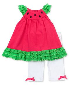 Rare Editions Baby Set, Baby Girls 2-Piece Watermelon Shirt and Pants