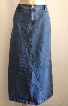 Cato Jean Skirt 10 Womens Long Modest No Slit Denim Flare Hippie A Line Boho 3999