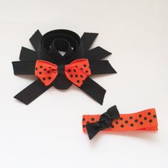 Spider Ribbon Sculpture Hair Clip Set - Halloween Hair Bows - Toddler Hair Clips... Free Shipping Promo