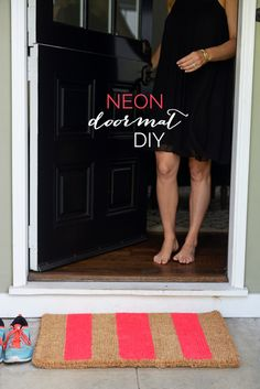Striped Neon Doormat DIY - Cupcakes and Cashmere