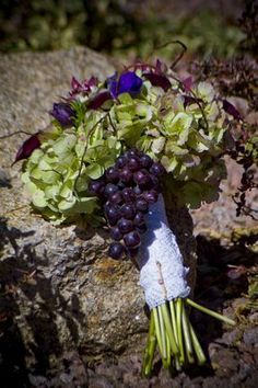 Wine Wedding Bouquet with grape accents by Butterfly Petals.