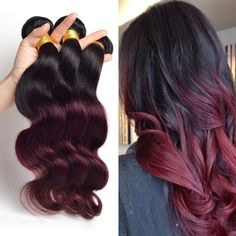 "Amazon.com : Jaycee Hair Body Wave Ombre Human Remy Hair Bundles Extension Brazilian Wavy Hair Weave Color 1b/99j Burgundy 22"" 22"" and 24""(pack of 3) : Beauty"