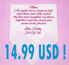 Personalized wedding handkerchief for the mother by PromiseForever, $14.99
