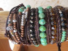 Leather Wrap Bracelet - 4 Traditional Wraps with a 5th and 6th  Knotted and Embellished Wrap