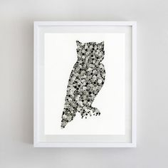 "Grey and Black Owl - Print of Original Watercolor Painting 8""x10"" on Etsy, $18.00"