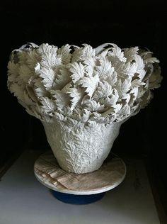 'Feather Leaves Bowl' (2013) by Japanese ceramic artist Hitomi Hosono (b 1978). Porcelain, 60 x 56 cm. via the artist's site