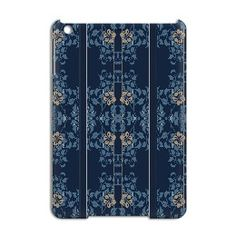 Art nouveau clematis with dark blue background, lighter blue leaves and orange brown flowers iPad Mini Case