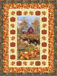 Spend your fall days snuggled up under this lap quilt with pumpkin pie and spiced apple cider! Since the center is a panel, it comes together in no time -- just piece the borders and quilt for a piece that will come out year after year. Finished size: x Hanging Quilts, Quilted Wall Hangings, Quilting Projects, Quilting Designs, Quilting Tips, Sewing Projects, Pumpkin Quilt Pattern, Coastal Quilts, Wildlife Quilts