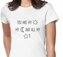 Sun, Moon, & Star Embroidery Womens Fitted T-Shirt