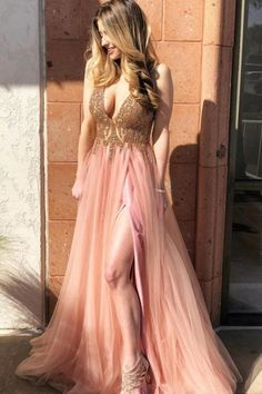 Pageant Dresses For Teens, Prom Dresses Long Pink, Prom Dresses Two Piece, Elegant Bridesmaid Dresses, V Neck Prom Dresses, Beaded Prom Dress, Cheap Prom Dresses, Homecoming Dresses, Dress Prom