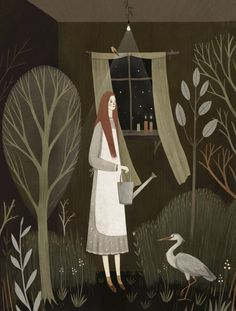 Captivating digital folk art by Russian-English illustrator Alexandra Dvornikova.  I ove how this piece subverts all notions of inside and outside, domestic and wild, artificial and natural. /NSC