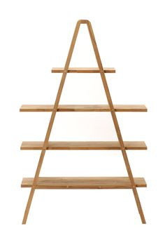 Creative A Shaped Decorative Shelving Unit Design with Wooden Shelves in Four Levels Idea for Display Shelf