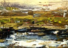Buy Jurassic Landscape, a Acrylic on Canvas by Helene Hardy from Australia. It portrays: Abstract, relevant to: prehistoric, black, brown, ancient, abstract, gold, landscape The Jurassic period (199.6 million to 145.5 million years ago) was characterized by a warm, wet climate that gave rise to lush vegetation and abundant life. This is my interpretation of this long ago terrain.