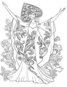 Woman In Russian Traditional Costume Coloring Page From Russia Category Select 30465 Printable Crafts Of Cartoons Nature Animals Bible And Many