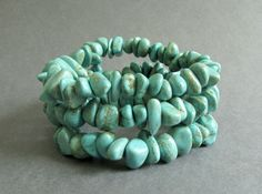 Blue Green Gemstone Stack Bracelets Set of Three by NSUJewelry, $22.00