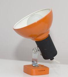 Vintage Italian Design Lamp in orange. Adjustable 60s 70s wall Light. Mid Century Modern.