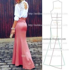 ideas skirt pattern easy simple for 2019 Best Picture For Skirt diy For Your Taste You are looking for something, and it is going to tell you exactly what you are looking for, and you didn' Vintage Dress Patterns, Skirt Patterns Sewing, Pattern Skirt, Pattern Sewing, Mermaid Dress Pattern, Costura Fashion, How To Make Skirt, Do It Yourself Fashion, Diy Dress
