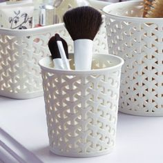 Curver Faux Rattan Dresser Storage Pot - Small (Perfect For Make-Up Brushes): Amazon.co.uk: Kitchen & Home