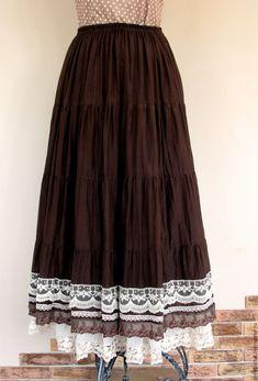 Купить Длинная летняя юбка Бохо 2 - коричневая летняя юбка