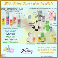 Kids Scentsy Bath Smoothies and Scrubby Buddies