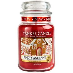 Yankee Candle Large Jar Candy Cane Lane ($33) ❤ liked on Polyvore featuring home, home decor, candles & candleholders, cookie jar, christmas candles, xmas candles, christmas candle holders and vanilla scented candles