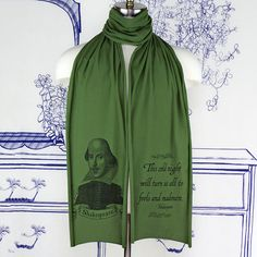 William Shakespeare Screen printed Cotton Scarf via Etsy