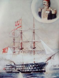 Kaptan Ateş Ahmet Paşa ve Mahmudiye Kalyonu, the largest ship of the Ottoman Empire.  19th century.