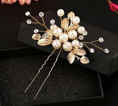 2pcs SET New Handmade Wedding Gold Leaf and Pearl Flower Bridal Hair Pins UK
