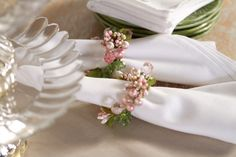 Add some spring colors to your table; this 6 piece napkin ring set come in icy blue / pearl; blue/lavender or pink and green (shown). H202161 http://qvc.co/-Shop-ValerieParrHill